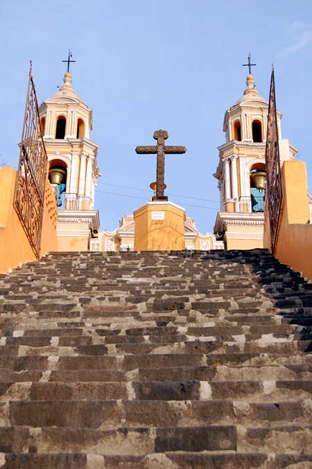 cholula church stairs