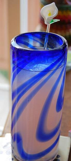 blue hand-blown glass mexico