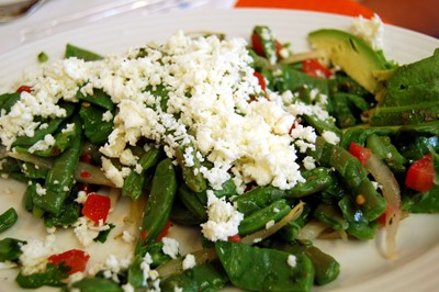 Ensalada nopales - cactus salad (nopales, cilantro, peppers, lime and cheese)