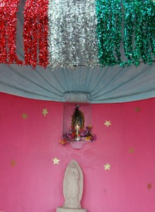 As everywhere in Mexico, there are shrines to the Virgin de Guadalupe.