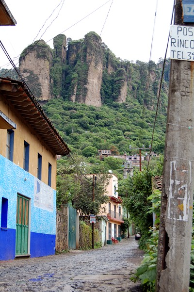 A typical street in Tepoztlan, Mexico