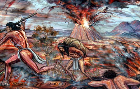 A mural in Tlalpan depicting the people fleeing the eruption.