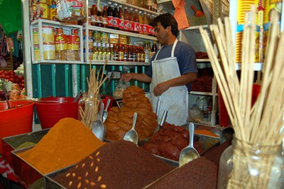 A mole vendor in the Xochimilco mercado.