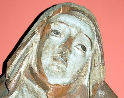 A wood carving of the Virgen de los Dolores