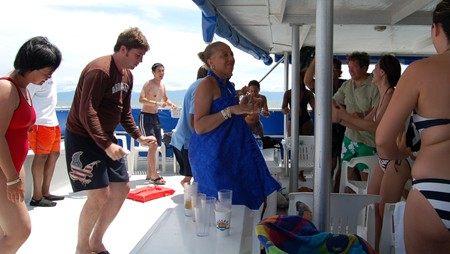 So, now that you've seen the islands, this was the scene on board. Drunk tourists dancing.