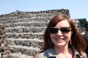 Joy in front of the Aztec's Templo Mayor.
