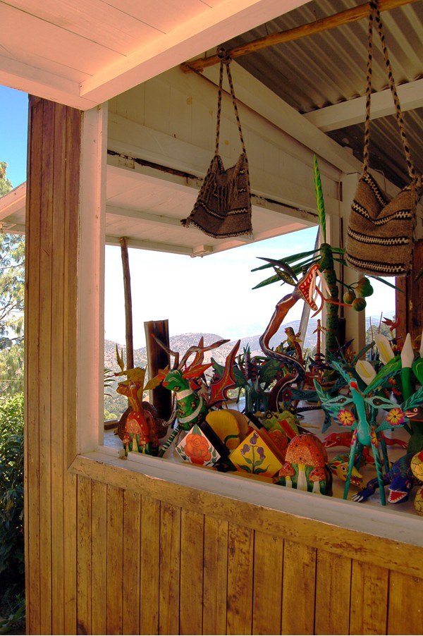 This roadside stand of alebrijes is located way up in the mountains of Oaxaca.