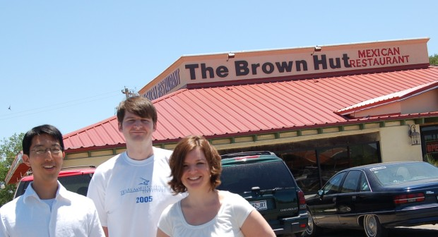 Jason, Brendan and me outside a poorly named restaurant in Uvalde, Texas.