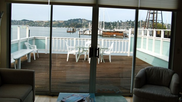 The view from inside the houseboat. At night, we had a view of the the houselights twinkling across the bay in Tiburon.