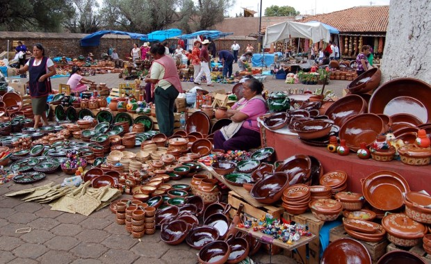 Pottery for sale in Tzintzuntzan -- which means 'place of the hummingbirds' in Purepecha.