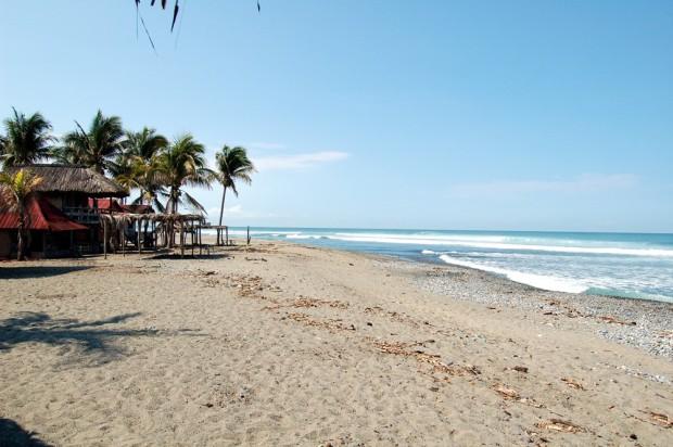 The beach at Nexpa, a popular point break.